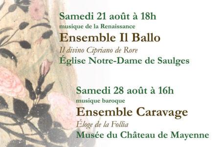 Concer Musique ancienne - Ensemble Caravage - Samedi 28 août